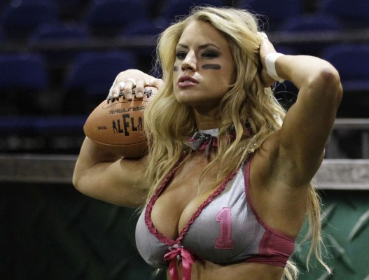 Lingerie Football League's Liz Gorman of the Eastern Conference poses before a pratice session in Mexico City