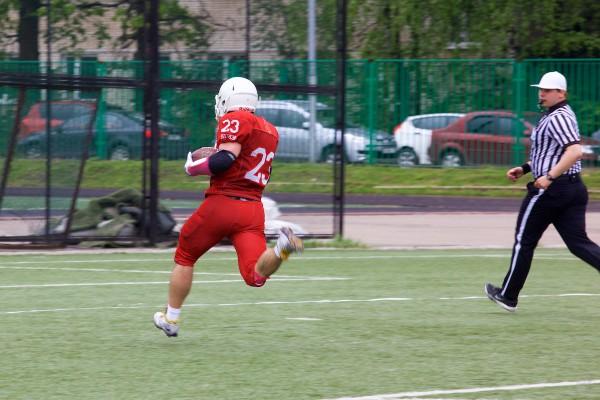 Vityaz runningback Artem Zelensky (#23) doing the touchdown