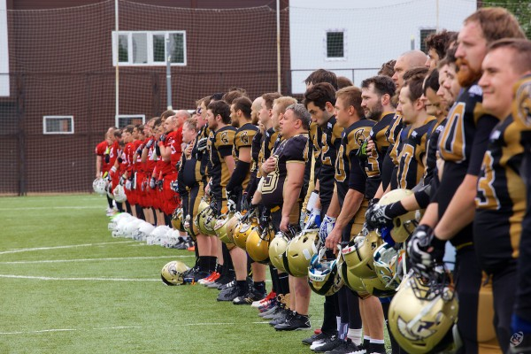Spartans and Vityaz listening russian national anthem