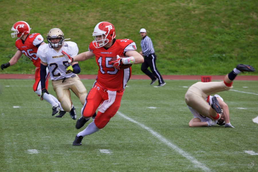 Rebels wide receiver Artem Polyakov carrying the ball