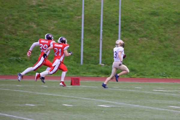 North legion wide receiver Alexey Smirnov (#13) on his touchdown run