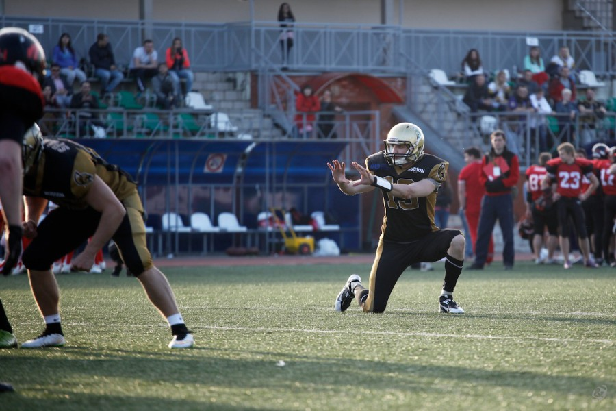 Moscow Spartans back-up quarterback Denis Tikhonov on the extra-point kick