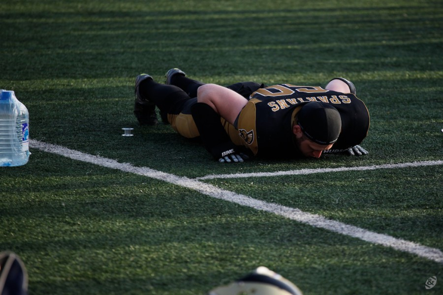 Moscow Spartans offensive lineman Ivan Shapkin on the sideline