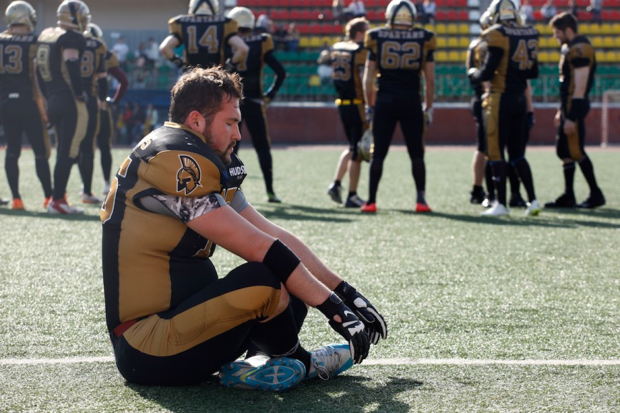 American football team Moscow Spartans offensive guard Rinat Khusyainov preparing for the game