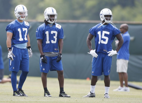 Jun 9, 2015; Indianapolis, IN, USA; Indianapolis Colts wide receivers from left to right Griff Whalen(17), T.Y. Hilton (13), and Phillip Dorsett (15) wait their turn to run passing routes during minicamp at the Indiana Farm Bureau Football Center. Mandatory Credit: Brian Spurlock-USA TODAY Sports