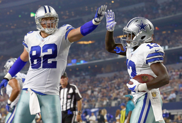 ARLINGTON, TX - AUGUST 29: Lucky Whitehead #13 of the Dallas Cowboys celebrates with Jason Witten #82 of the Dallas Cowboys after scoring a touchdown against the Minnesota Vikings in the second quarter on August 29, 2015 in Arlington, Texas. (Photo by Tom Pennington/Getty Images)