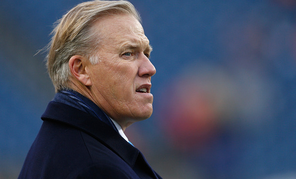 FOXBORO, MA - NOVEMBER 02: John Elway General Manager and Executive Vice President of Football Operations of the Denver Broncos looks on before a game against the New England Patriots at Gillette Stadium on November 2, 2014 in Foxboro, Massachusetts. (Photo by Jim Rogash/Getty Images)