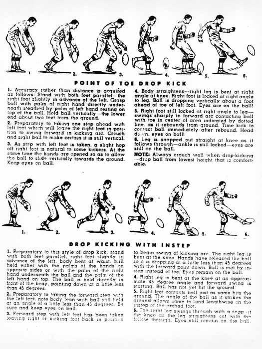 Две техники выполнения дроп-кика из футбольного учебника 1940-х