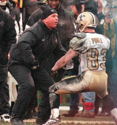 New Orleans Saints wide receiver Keith Poole (83) gets pumped up with head coach Mike Ditka during the third quarter after scoring his first NFL touchdown Sunday, Dec. 21, 1997, against the Kansas City Chiefs in Kansas City, Mo. Poole scored a second touchdown later in the game, but it wasn't enough as the Chiefs won 25-13. (AP Photo/Steve Rasmussen)