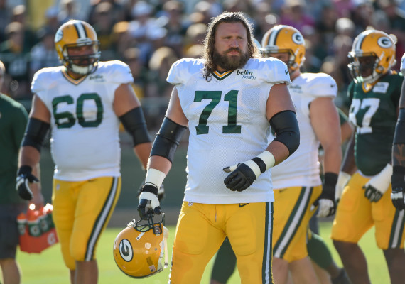 Aug 3, 2015; Green Bay, WI, USA; Green Bay Packers guard Josh Sitton (71) practice during training camp at Ray Nitschke Field. Mandatory Credit: Benny Sieu-USA TODAY Sports