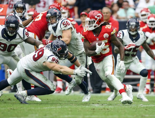 Sep 13, 2015; Houston, TX, USA; Kansas City Chiefs running back Jamaal Charles (25) runs with the ball during the fourth quarter against the Houston Texans at NRG Stadium. The Chiefs defeated the Texans 27-20. Mandatory Credit: Troy Taormina-USA TODAY Sports