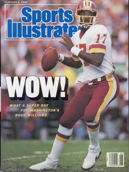 February 8, 1988 Sports Illustrated Cover: Football: Super Bowl XXII. Washington Redskins QB Doug Williams (17) in action vs Denver Broncos. San Diego, CA 1/31/1988 CREDIT: John Biever (Photo by John Biever /Sports Illustrated/Getty Images) (Set Number: X36092 TK1 )