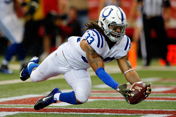 ATLANTA, GA - NOVEMBER 22: Dwight Lowery #33 of the Indianapolis Colts makes an interception in the end zone during the first half against the Atlanta Falcons at the Georgia Dome on November 22, 2015 in Atlanta, Georgia. (Photo by Kevin C. Cox/Getty Images)