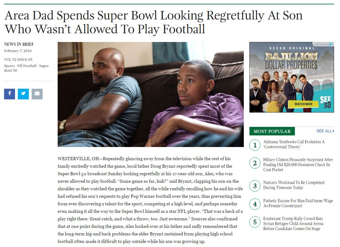 The onion Superbowl meme