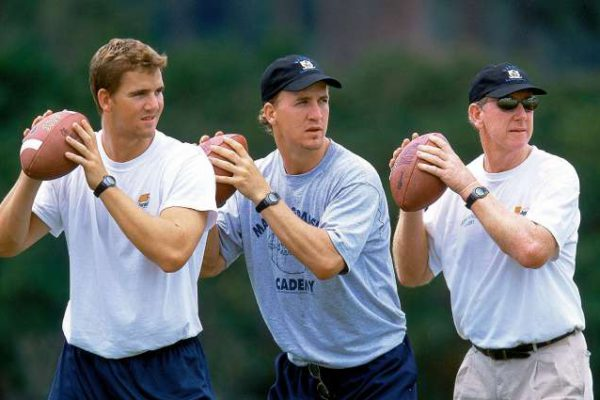 Archie Manning's Passing Camp last summer (2002) featured, from left, sons Eli and Peyton with their father, Archie. Credit: Bill Frakes SetNumber: X66355 TK1