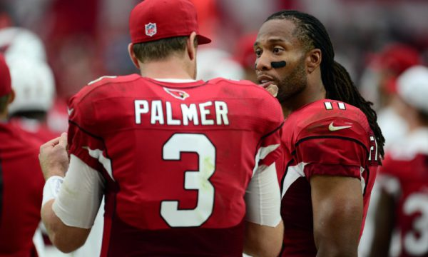 Sep 27, 2015; Glendale, AZ, USA; Arizona Cardinals quarterback Carson Palmer (3) and Arizona Cardinals wide receiver Larry Fitzgerald (11) talk on the sidelines during the second half against the San Francisco 49ers at University of Phoenix Stadium. The Cardinals won 47-7. Mandatory Credit: Joe Camporeale-USA TODAY Sports